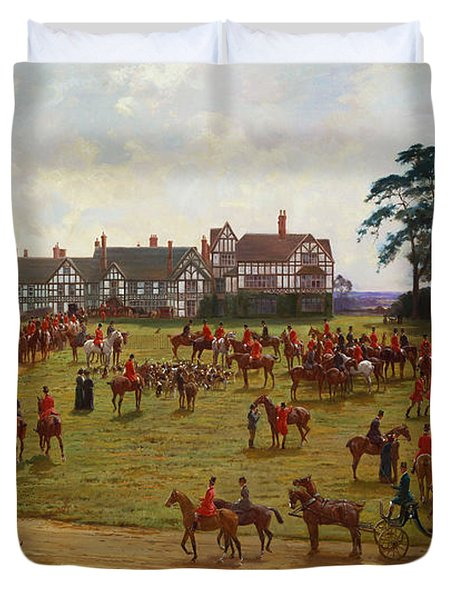 The Cheshire Hunt    The Meet At Calveley Hall  Duvet Cover by George Goodwin Kilburne