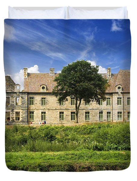 The Cistercian Abbey De Bon Repos Cotes D'armor Brittany France Duvet Cover by Jon Boyes