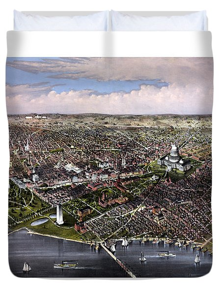 The City Of Washington Birds Eye View Duvet Cover by War Is Hell Store