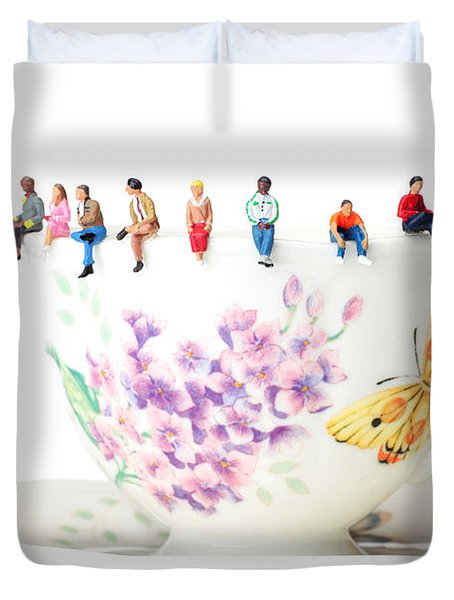 The Coffee Time Little People On Food Duvet Cover by Paul Ge