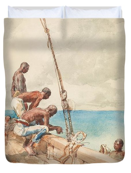 The Conch Divers Duvet Cover by Winslow Homer