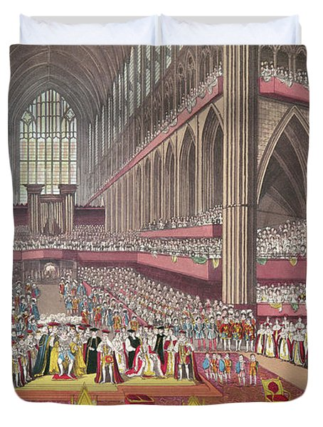 The Coronation Of King William Iv And Queen Adelaide, 1831 Colour Litho Duvet Cover by English School