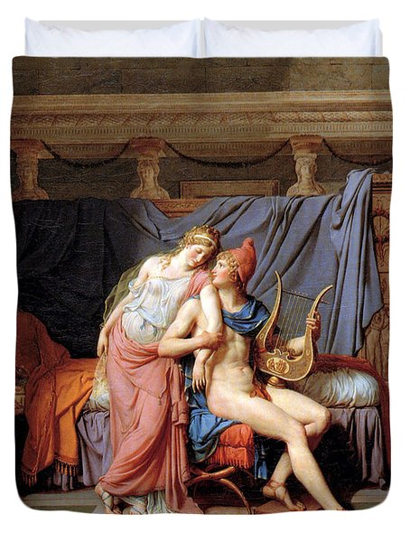 The Courtship Of Paris And Helen Duvet Cover by Jacques Louis David