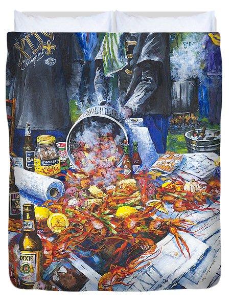 The Crawfish Boil Duvet Cover by Dianne Parks