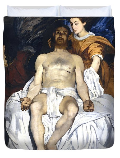 The Dead Christ With Angels Duvet Cover by Edouard Manet