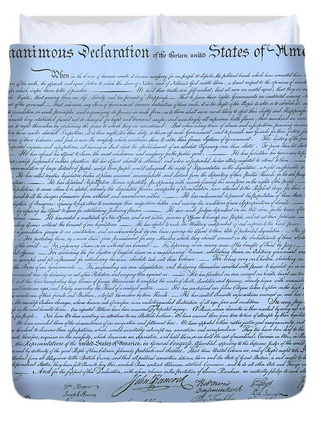 THE DECLARATION OF INDEPENDENCE in CYAN Duvet Cover by ROB HANS
