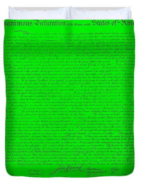 The Declaration Of Independence In Green Duvet Cover by Rob Hans