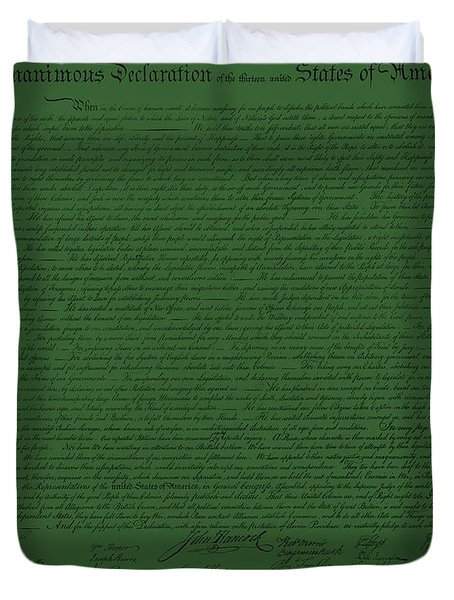 THE DECLARATION OF INDEPENDENCE in OLIVE Duvet Cover by ROB HANS