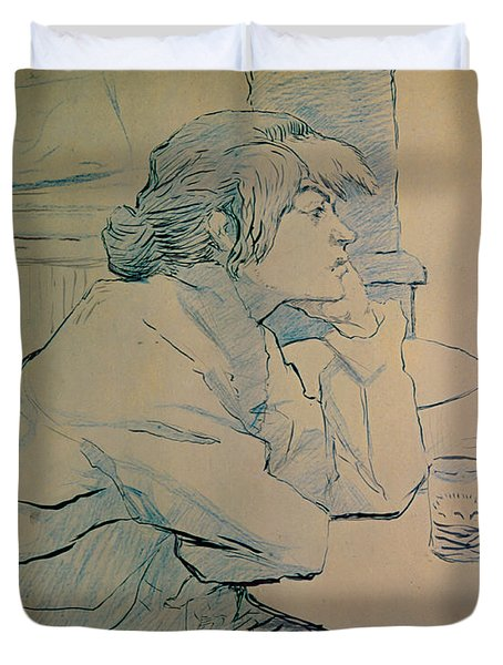 The Drinker Or An Hangover Duvet Cover by Henri de Toulouse-lautrec
