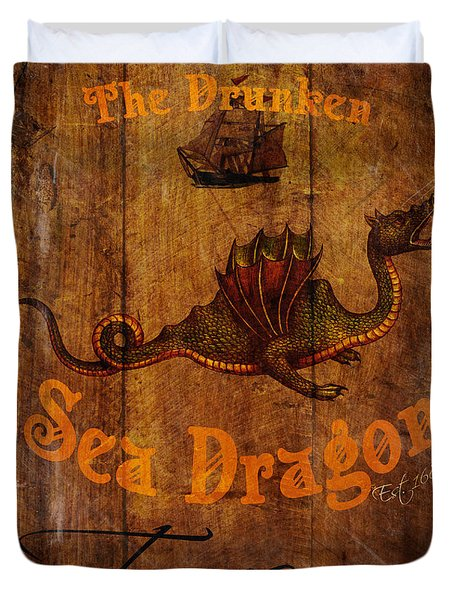 The Drunken Sea Dragon Pub Sign Duvet Cover by Cinema Photography
