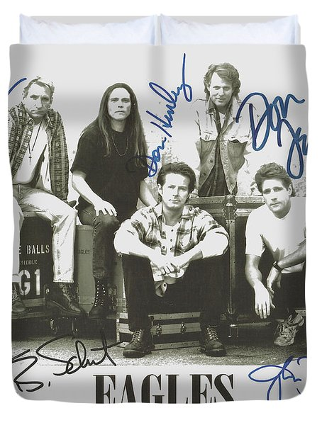 The Eagles Autographed Duvet Cover by Desiderata Gallery