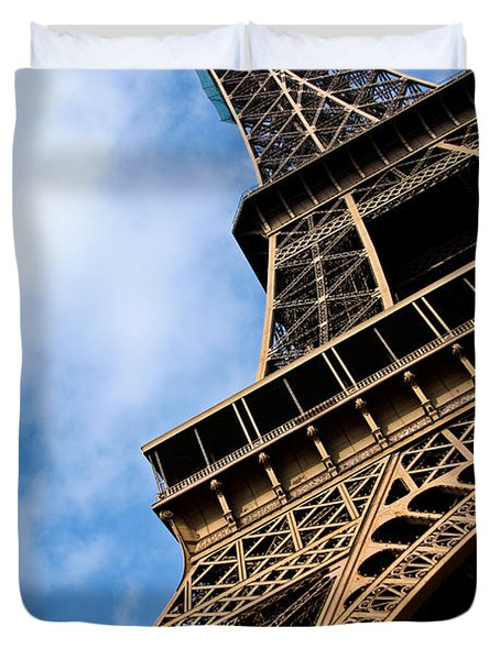 The Eiffel Tower From Below Duvet Cover by Nila Newsom