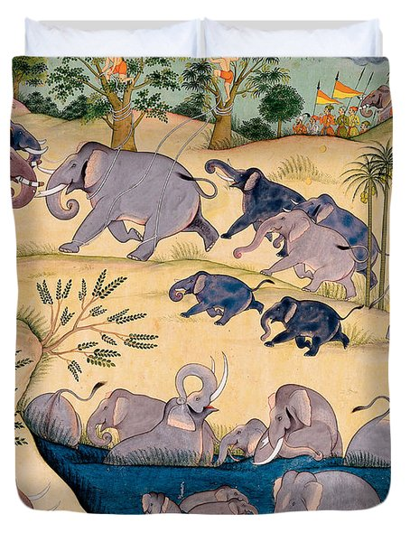 The Elephant Hunt Duvet Cover by Indian School