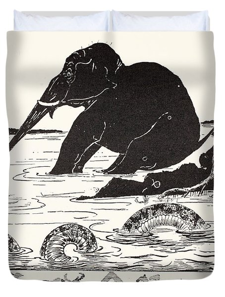 The Elephant's Child Having His Nose Pulled By The Crocodile Duvet Cover by Joseph Rudyard Kipling