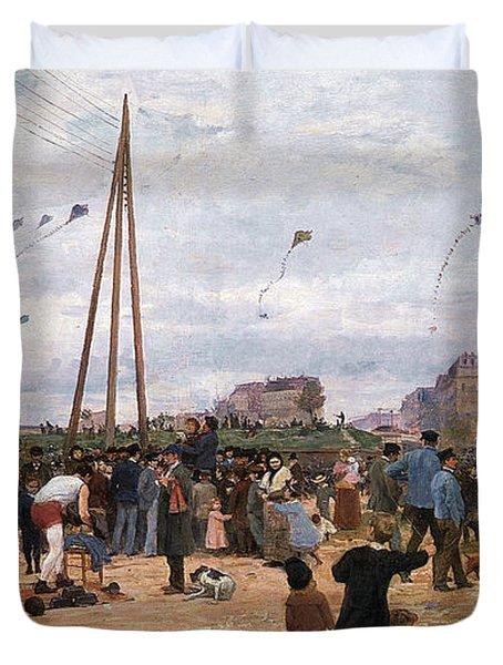 The Fairgrounds At Porte De Clignancourt Paris Duvet Cover by Victor Gabriel Gilbert
