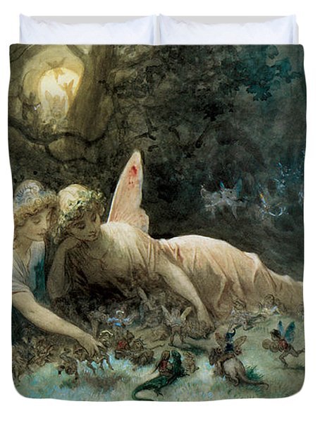 The Fairies From William Shakespeare Scene Duvet Cover by Gustave Dore