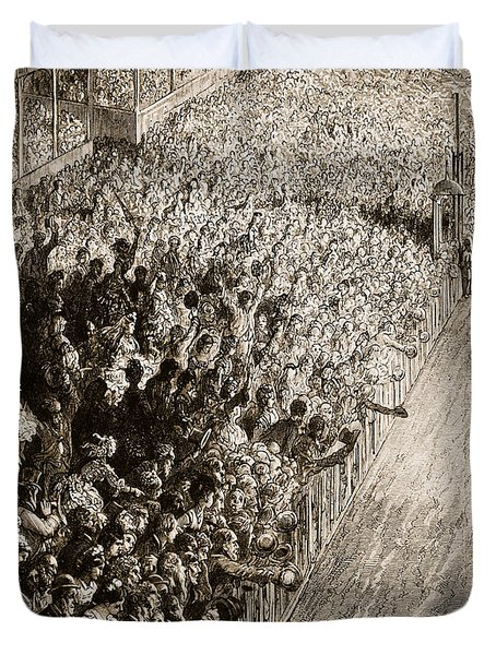 The Finishing Line Of The Derby Duvet Cover by Gustave Dore