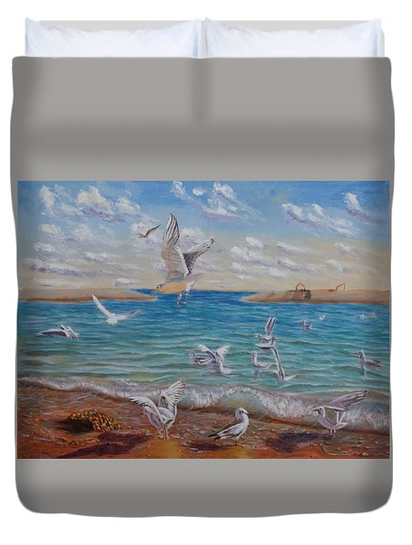 The First Inhabitants Of The New Land Duvet Cover by Elena Sokolova
