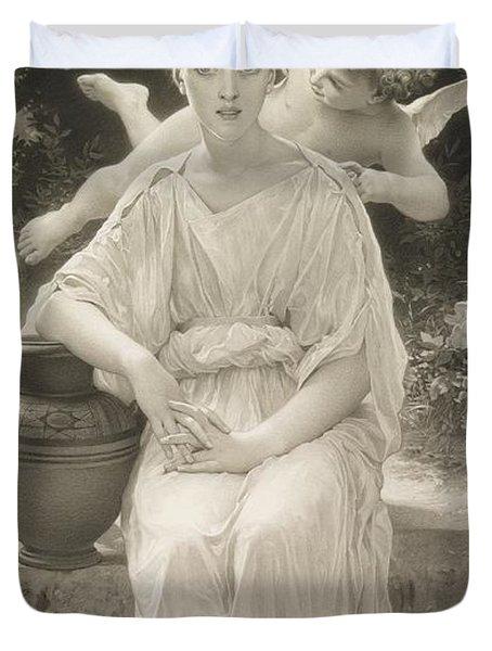 The First Whisper Of Love After Bouguereau Duvet Cover by  John Douglas Miller