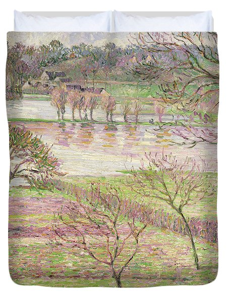 The Flood At Eragny Duvet Cover by Camille Pissarro