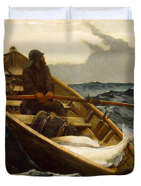 The Fog Warning Duvet Cover by Winslow Homer