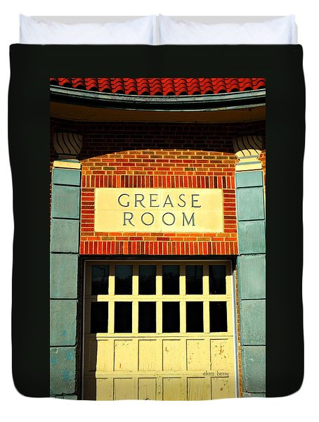 The Garage Duvet Cover by Chris Berry