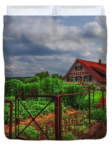 The Garden Gate Duvet Cover by Debra and Dave Vanderlaan