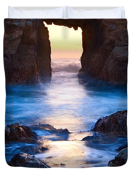 The Gateway - Sunset On Arch Rock In Pfeiffer Beach Big Sur In California. Duvet Cover by Jamie Pham