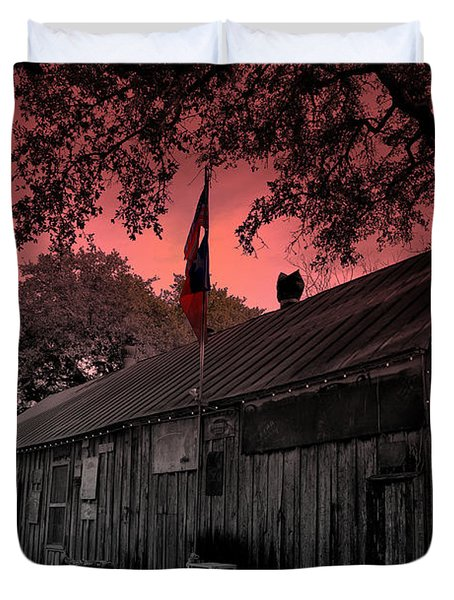 The General Store In Luckenbach Texas Duvet Cover by Susanne Van Hulst