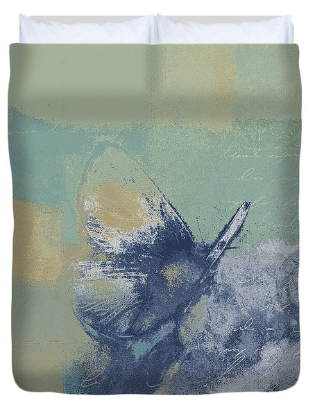 The Giant Butterfly And The Moon - J216094206-c09a Duvet Cover by Variance Collections