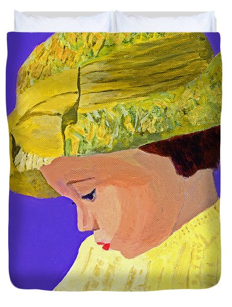 Duvet Cover featuring the painting The Girl With The Straw Hat by Rodney Campbell