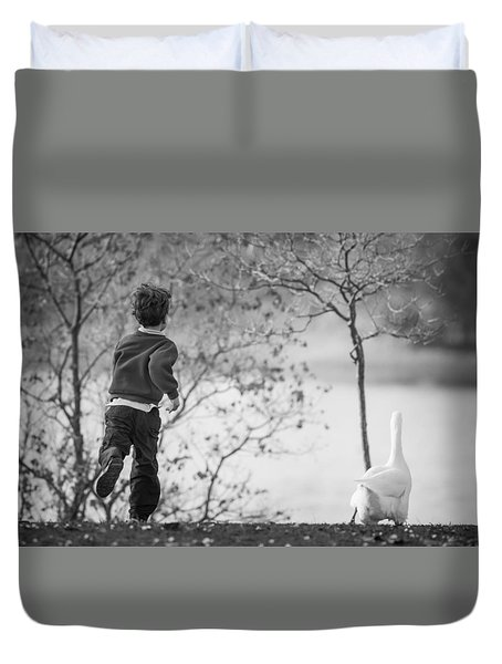 The Goose Chase Duvet Cover by Priya Ghose