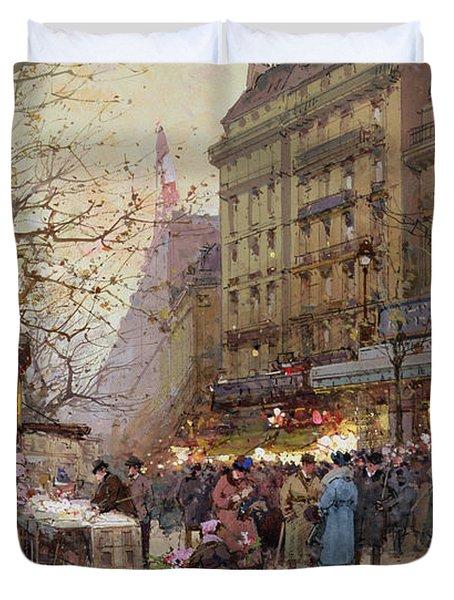 The Great Boulevards Duvet Cover by Eugene Galien-Laloue