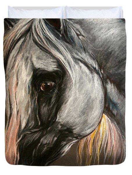 The Grey Arabian Horse Duvet Cover by Angel  Tarantella