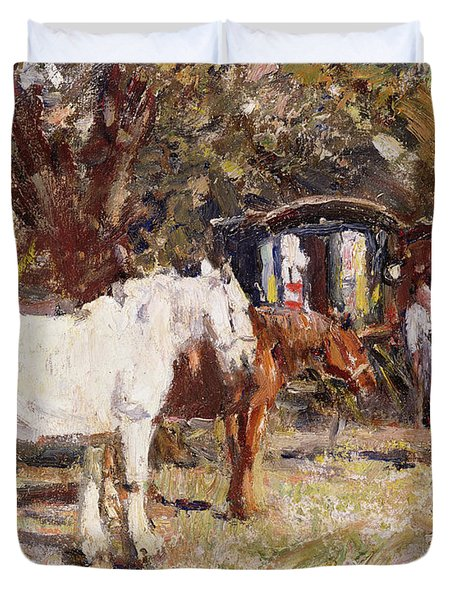 The Gypsy Encampment Duvet Cover by Harry Fidler