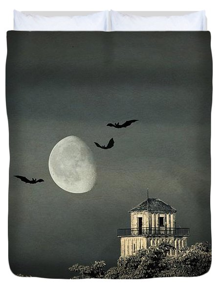 The haunted house Duvet Cover by Heike Hultsch