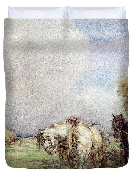 The Hay Wagon Duvet Cover by Nathaniel Hughes John Baird