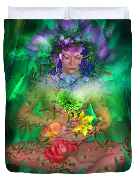 The Healing Garden Duvet Cover by Carol Cavalaris