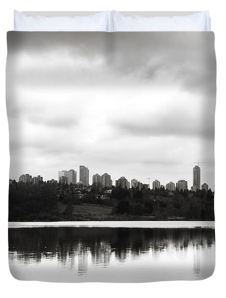 The Heron And The City Duvet Cover by Lisa Knechtel