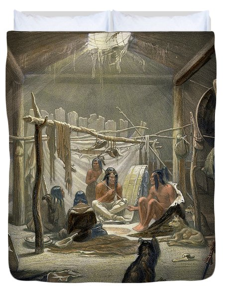 The Interior Of A Hut Of A Mandan Chief Duvet Cover by Karl Bodmer