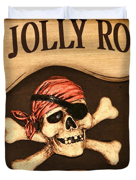 The Jolly Roger Duvet Cover by Kathy Clark