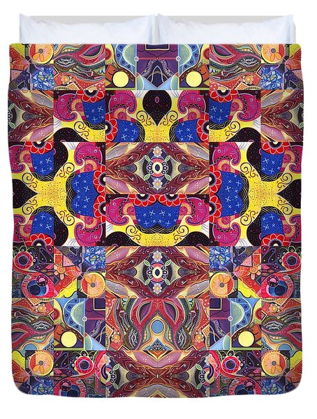 The Joy Of Design Mandala Series Puzzle 3 Arrangement 6 Duvet Cover by Helena Tiainen