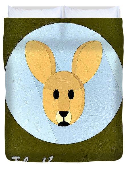 The Kangaroo Cute Portrait Duvet Cover by Florian Rodarte