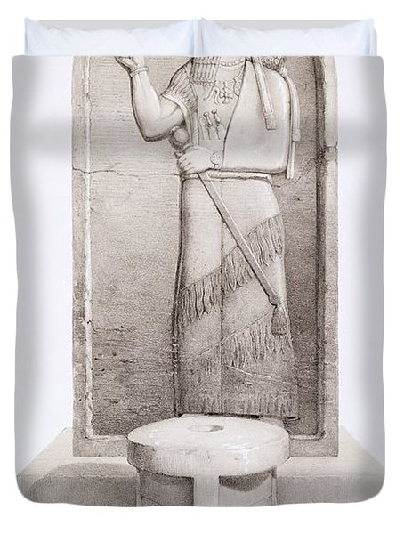 The King And Sacrificial Altar, Nimrud Duvet Cover by English School