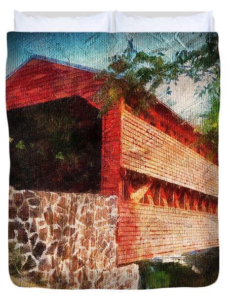 The Kissing Bridge Duvet Cover by Lois Bryan