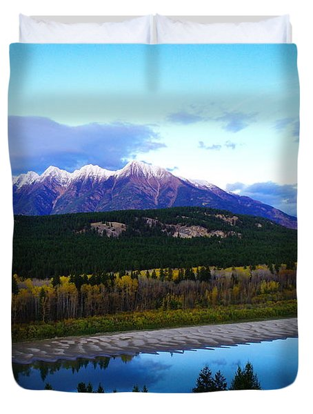 The Kootenenai River Surrounding The Canadian Rockies   Duvet Cover by Jeff Swan