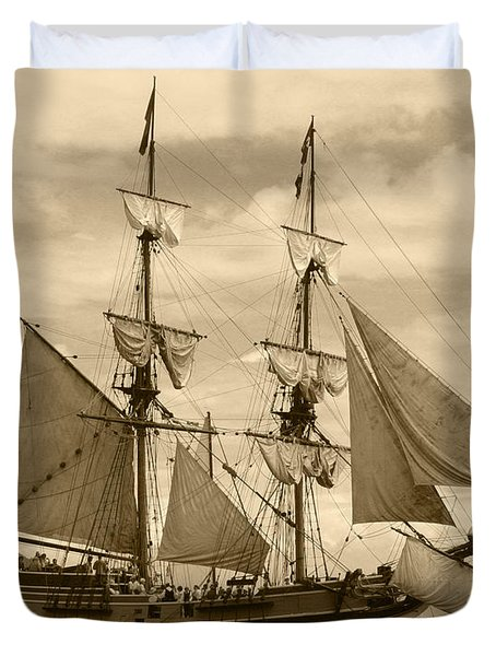 The Lady Washington Ship Duvet Cover by Kym Backland