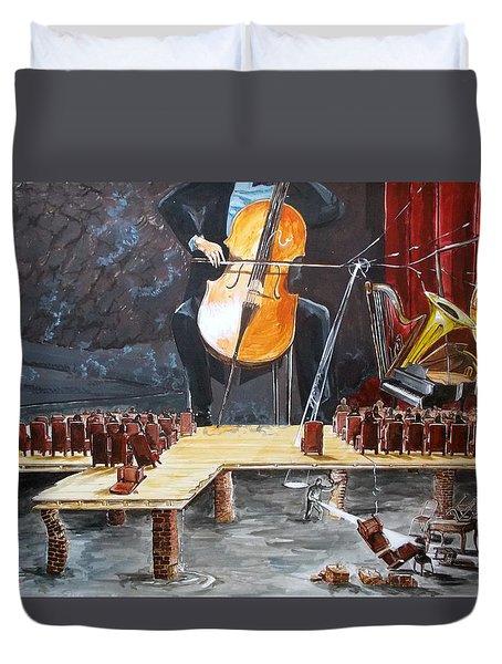 The Last Concert listen with music of the description box Duvet Cover by Lazaro Hurtado