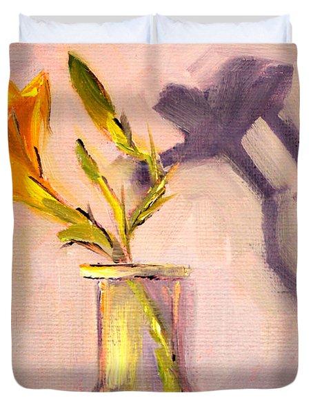 The Last Lily Duvet Cover by Nancy Merkle