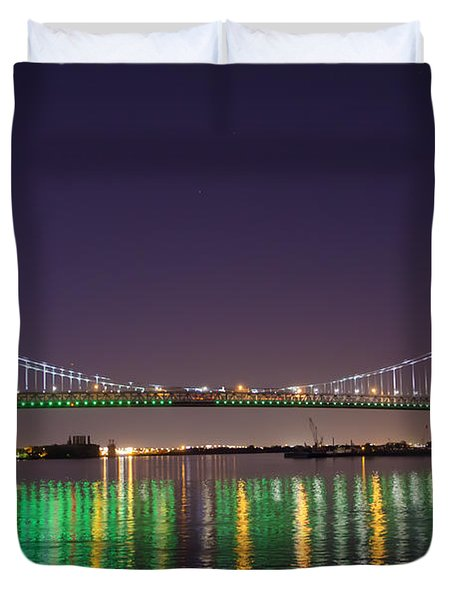 The Lighted Ben Franklin Bridge Duvet Cover by Bill Cannon